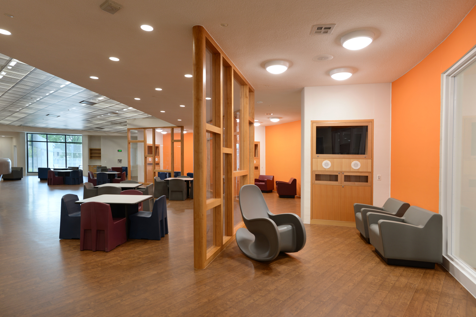 Behavioral Healthcare common area featuring Rocksmart rocking chairs