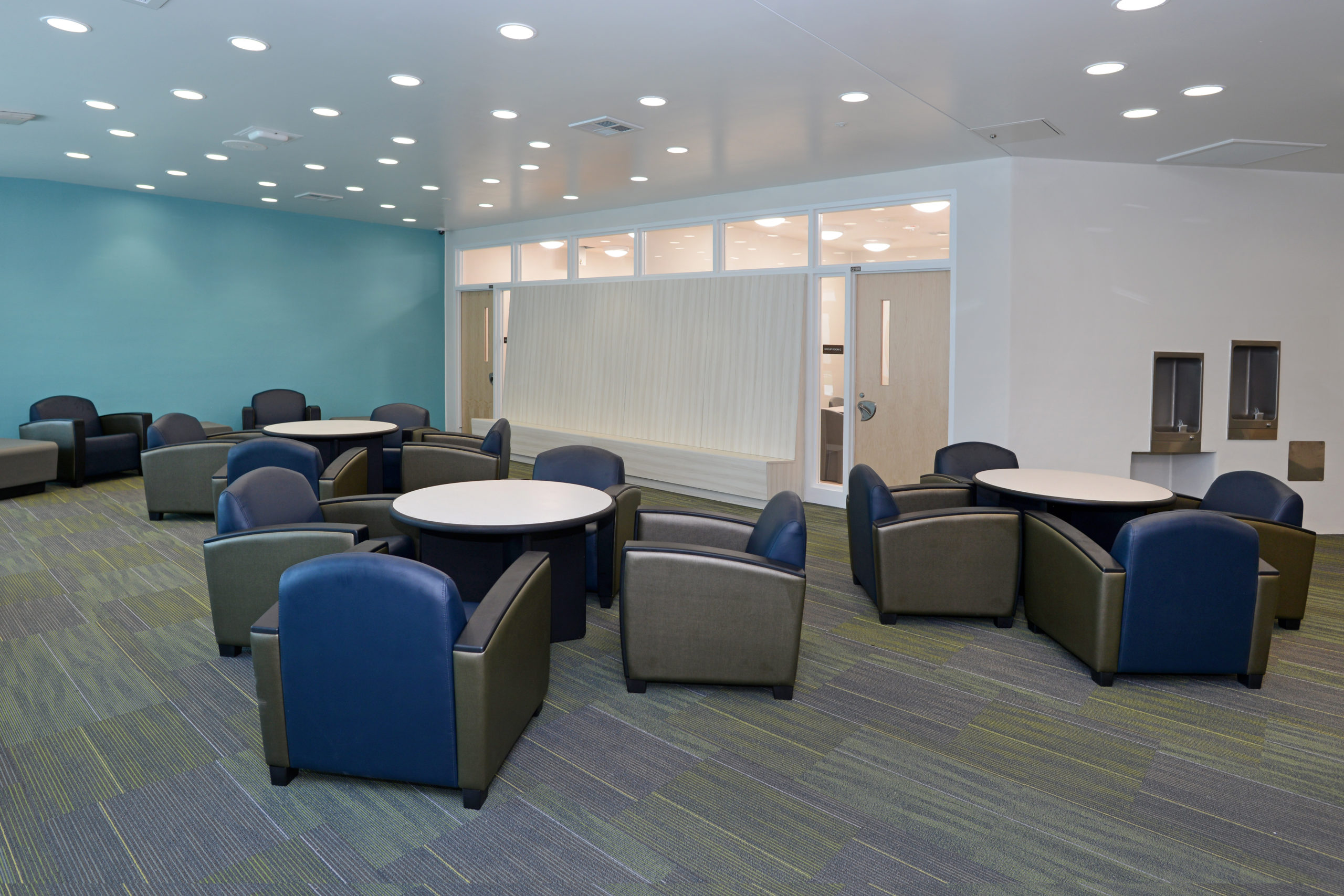 Modern visitation area furniture in a behavioral healthcare facility